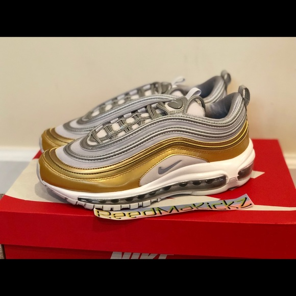 low priced 4b7c3 c4d7d Nike air max 97 SE Grey Metallic Silver Gold Women NWT